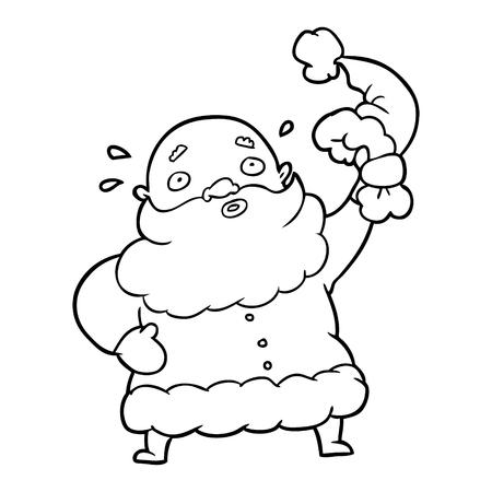 line drawing of a santa claus waving his hat