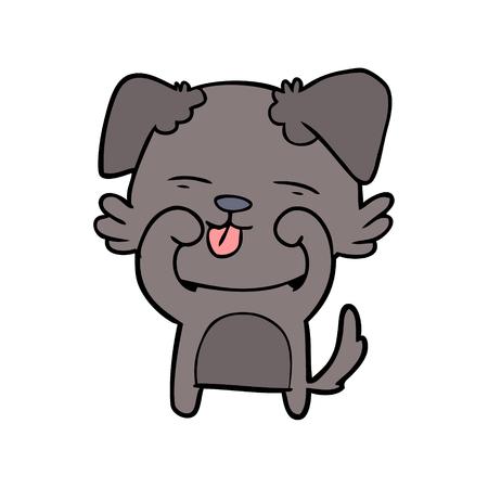 Hand drawn cartoon dog rubbing eyes