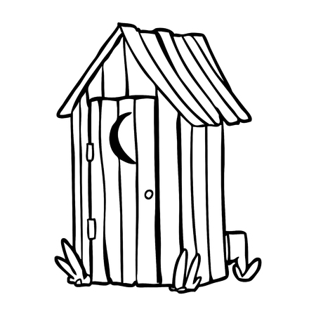 line drawing of a traditional outdoor toilet with crescent moon window