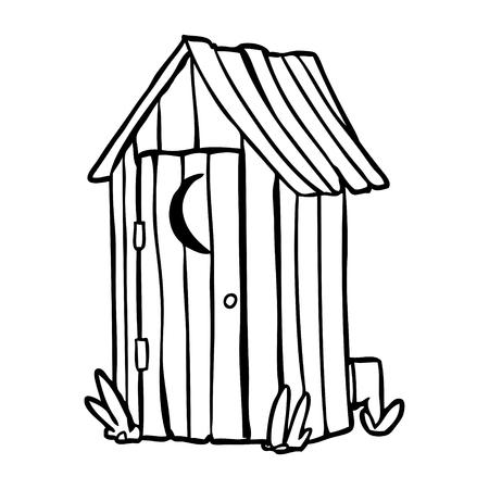 Strichzeichnung einer traditionellen Toilette im Freien mit Halbmondfenster Standard-Bild - 94924755