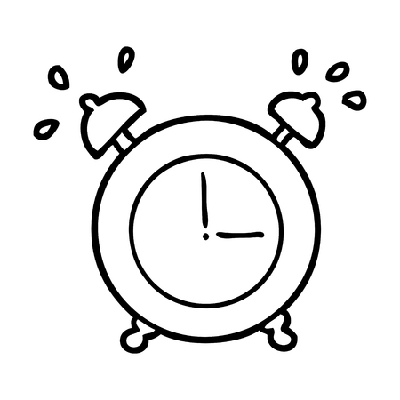 line drawing of a ringing alarm clock