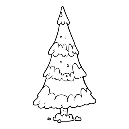 line drawing of a snowy christmas tree