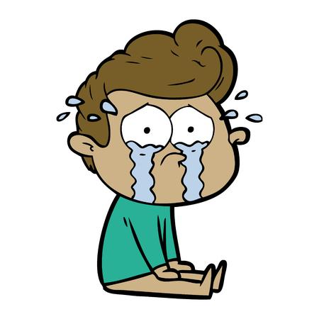 Hand drawn cartoon crying man