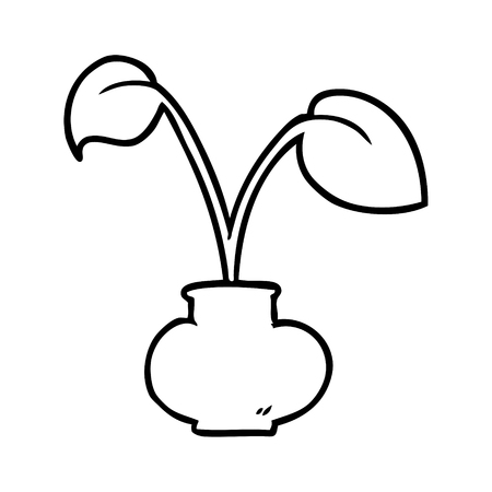line drawing of a house plant