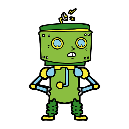 Hand drawn cartoon robot with hands on hips Illustration