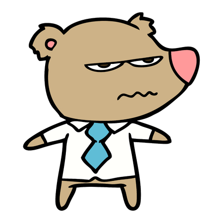 cartoon angry boss bear Ilustração