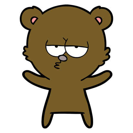 Hand drawn bored bear cartoon