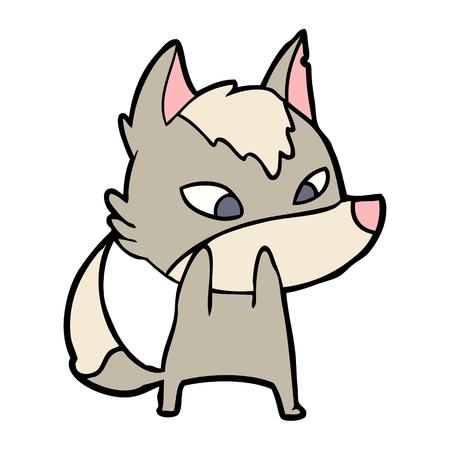 Hand drawn shy cartoon wolf
