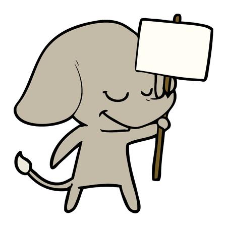 Elefante sorridente de desenhos animados com letreiro Foto de archivo - 94924773