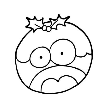 충격을받은 얼굴로 크리스마스 푸딩의 선 그리기 일러스트