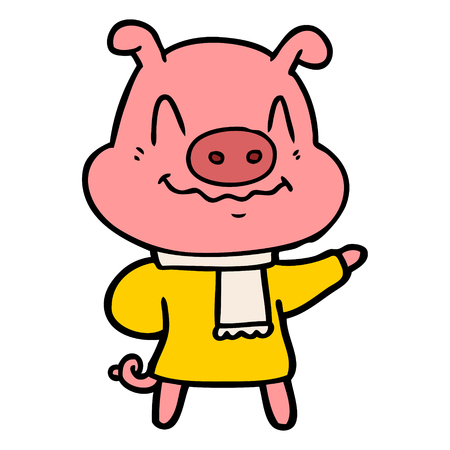 Hand drawn nervous cartoon pig wearing scarf 向量圖像