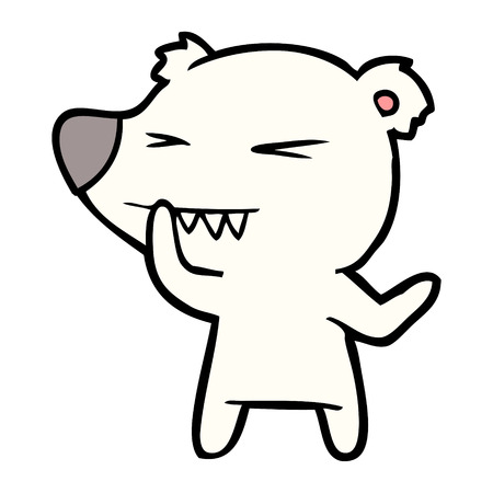 Hand drawn angry polar bear cartoon thinking Illustration