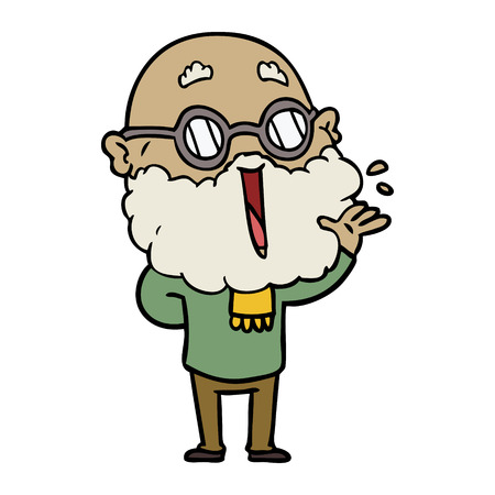 Hand drawn cartoon joyful man with beard Çizim