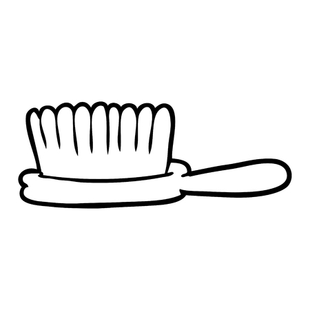 Hand drawn line drawing of a hairbrush