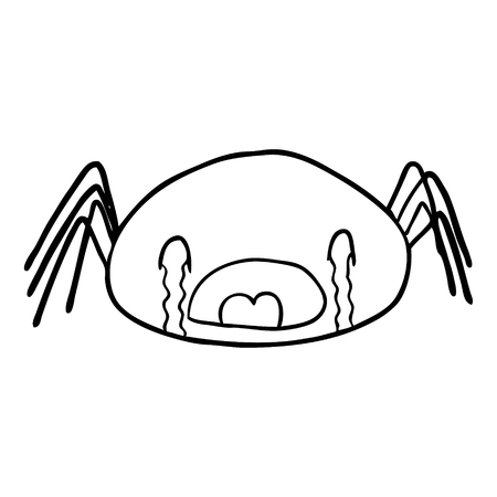 Hand drawn line drawing of a Halloween spider crying