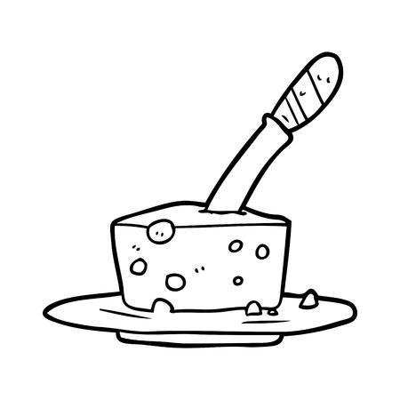 Cuchillo dibujado a mano en bloque de queso Foto de archivo - 95005047