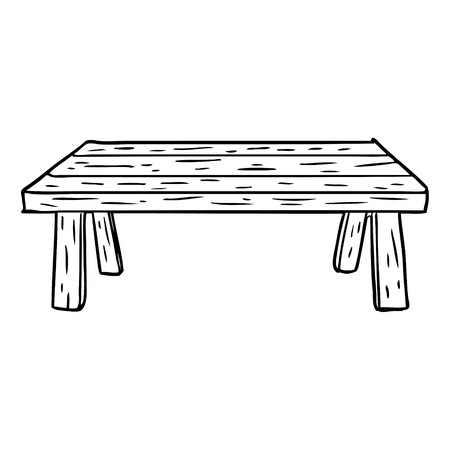 Hand drawn line drawing of a wooden table