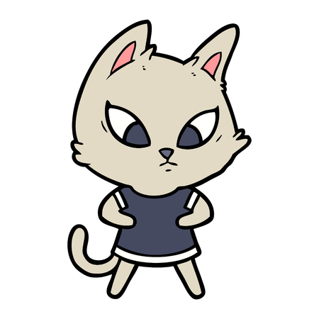 Hand drawn confused cartoon cat in clothes