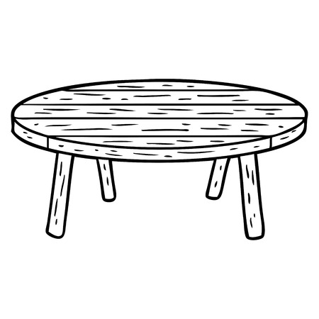 木製のテーブルの線画