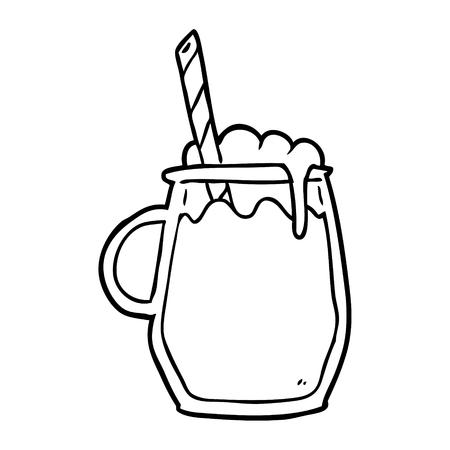 わらで根ビールのグラスの線画