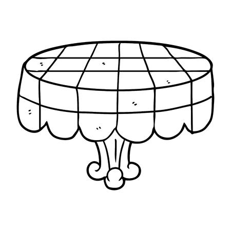 lijntekening van een café-tafel Stock Illustratie