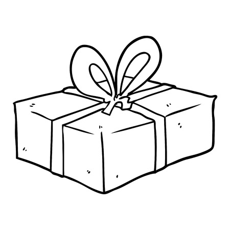 line drawing of a wrapped gift