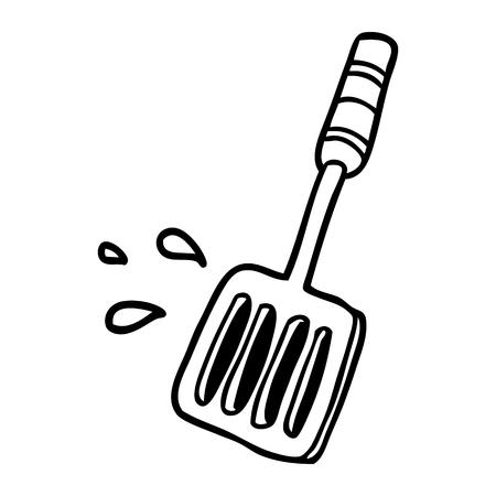 부엌 주걱 도구의 선 그리기