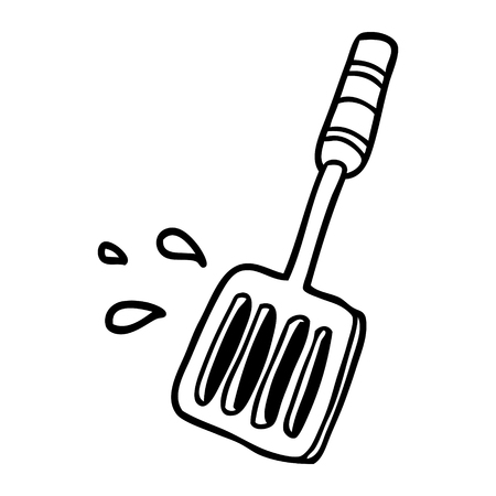 line drawing of a kitchen spatula tool 版權商用圖片 - 94925280