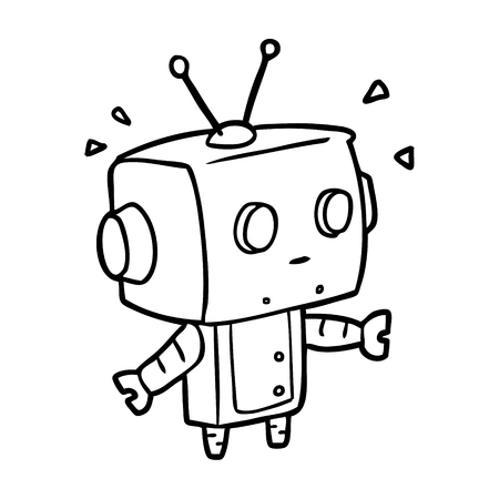 cute line drawing of a surprised robot 向量圖像