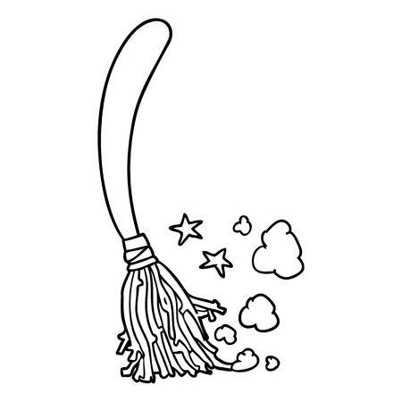 line drawing of a halloween witches broom Illustration