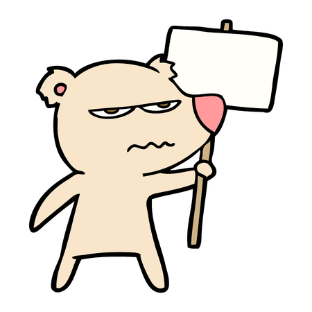 angry bear cartoon holding placard