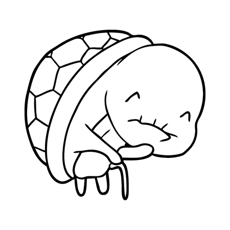 cute line drawing of a old turtle with walking stick