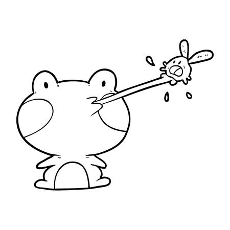 귀여운 라인 드로잉 개구리 파리의 혀를 잡기