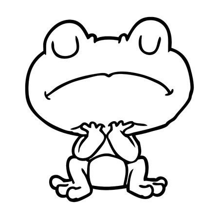 Dessin au trait d'une grenouille attendant patiemment Banque d'images - 94936231