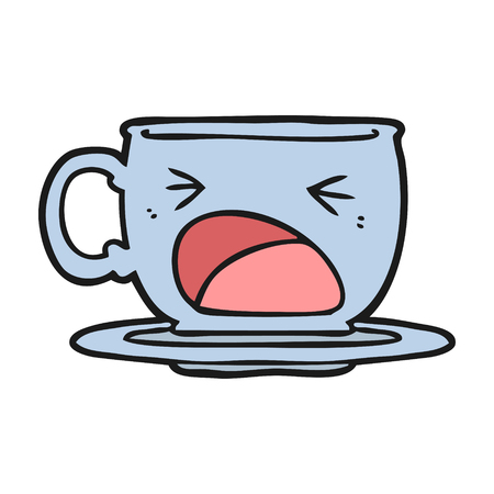 cartoon shouting tea cup