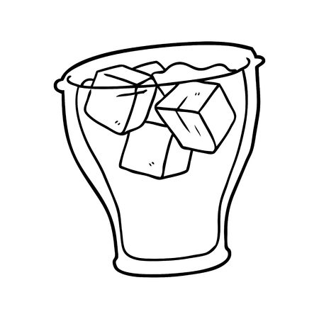 line drawing of a glass of cola with ice