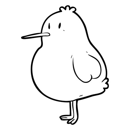 Cute Line Drawing Of A Kiwi Bird Royalty Free Cliparts Vectors And