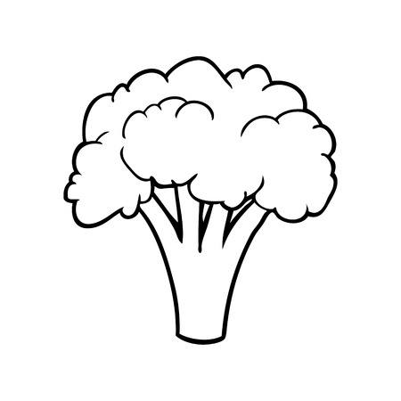 line drawing of a broccoli Ilustracja