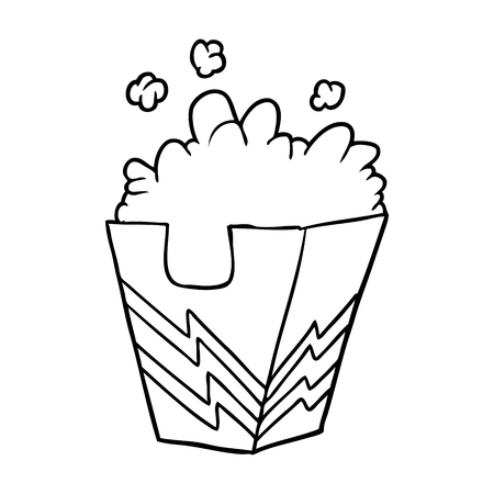 line drawing of a box of popcorn 向量圖像