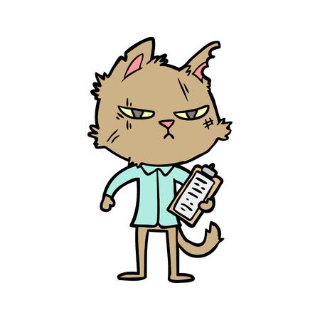 클립 보드로 힘든 만화 고양이 일러스트