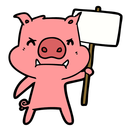 angry cartoon pig protesting