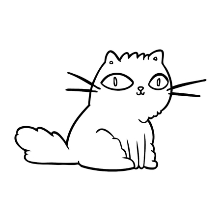 line drawing of a cat looking right at you