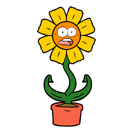 cartoon shocked flower 向量圖像