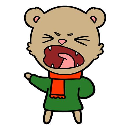 angry cartoon bear Ilustração