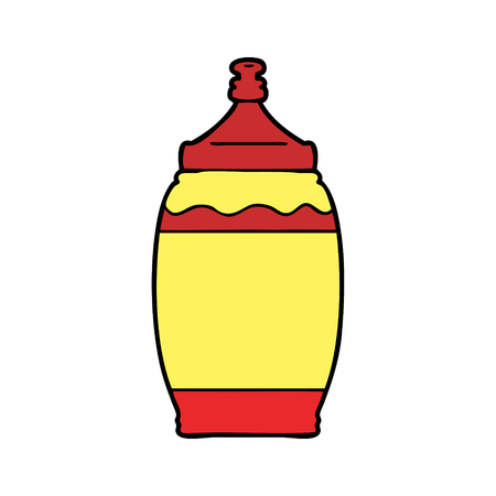 Hand drawn cartoon ketchup bottle Çizim