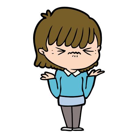 Hand drawn annoyed cartoon girl