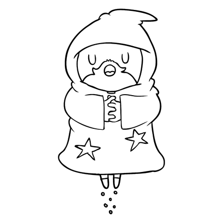 Hand drawn floating wizard Ilustração