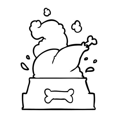 lijntekening van een hele gekookte kalkoen gepropt in een hondenkom voor een gelukkig kerstjong Stock Illustratie