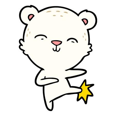 happy cartoon polar bear kicking