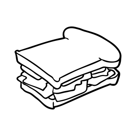 line drawing of a ham cheese tomato sandwich